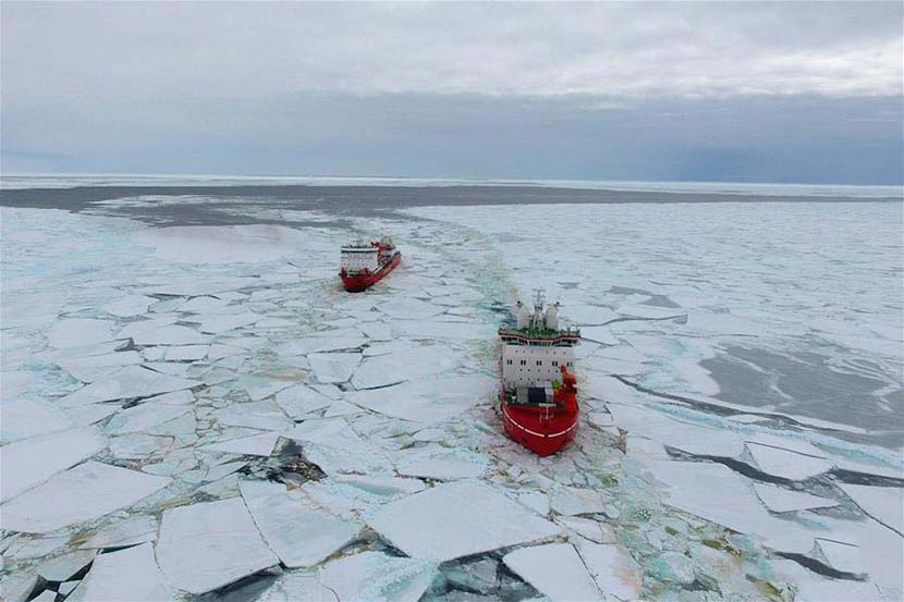 China's polar icebreakers Xuelong 2 and Xuelong sail toward the Zhongshan Station in Antarctica, Nov. 20, 2019. Liu Shiping/Xinhua
