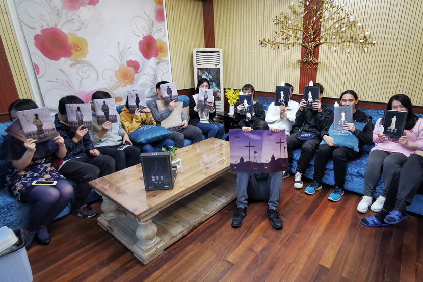 "Players show off their ""scripts"" in Shanghai, April 13, 2019. Courtesy of Jiang Yunchuan"