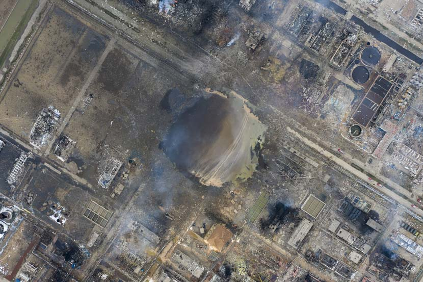 An aerial view of the aftermath of an explosion at a chemical plant owned by Jiangsu Tianjiayi Chemical Co. Ltd. in Yancheng, Jiangsu province, March 22, 2019. Caixin/VCG