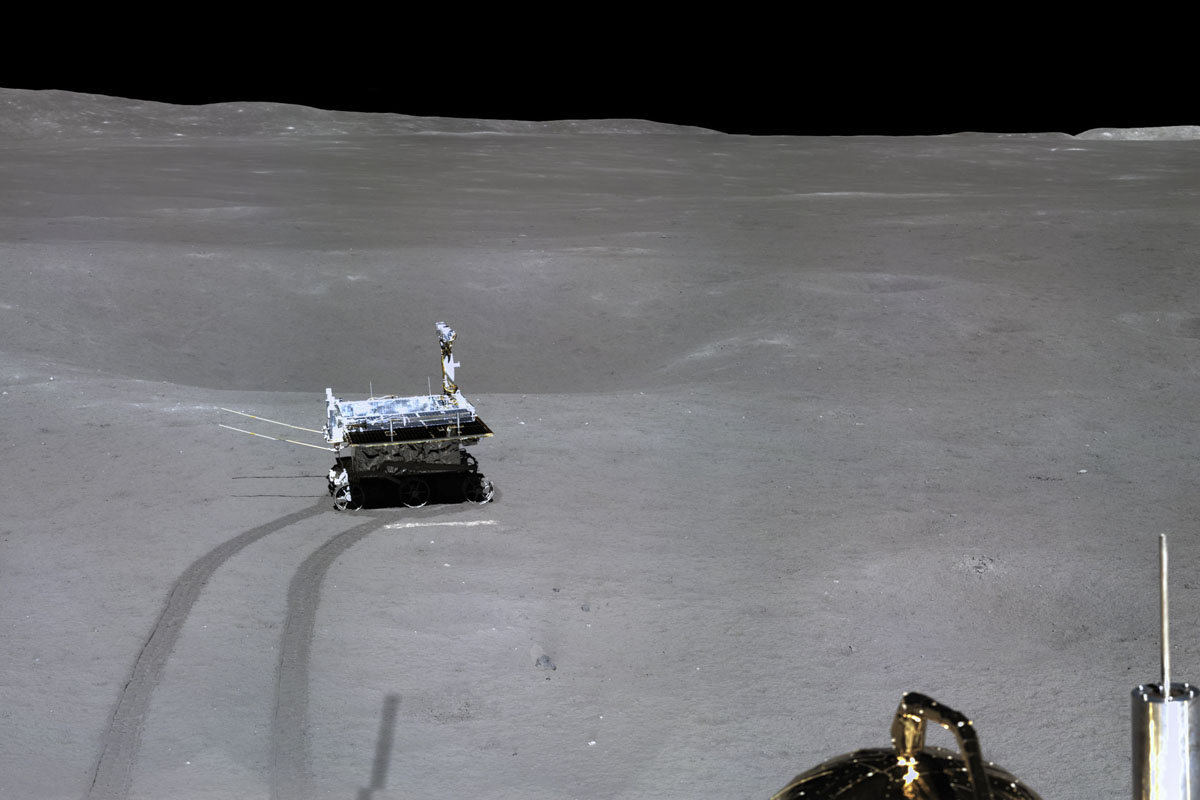China's lunar rover leaves its first 'footprint' after exiting a lander on the far side of the moon, published on Jan. 11, 2019. CNSA/Xinhua
