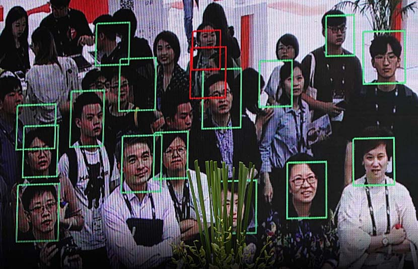 People attending the Consumer Electronics Expo Asia are identified using facial-recognition technology in Shanghai, June 11, 2019. Aly Song/Reuters/VCG