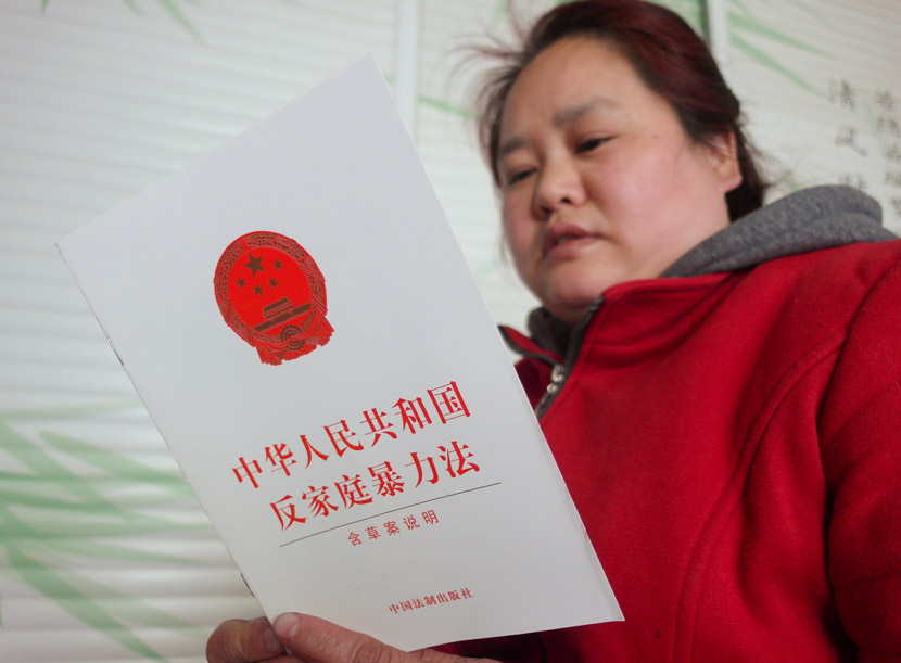 A woman reads a copy of the anti-domestic violence law. Tuchong