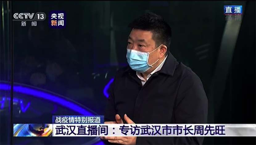 A screenshot of Zhou Xianwang, the mayor of Wuhan, during an interview with China Central Television.