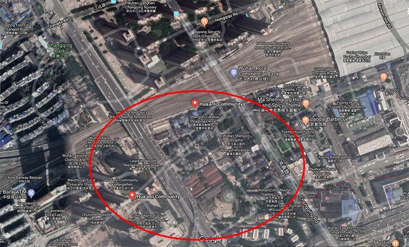 A map shows Hua'anli located near Wuhan's Hankou Railway Station.