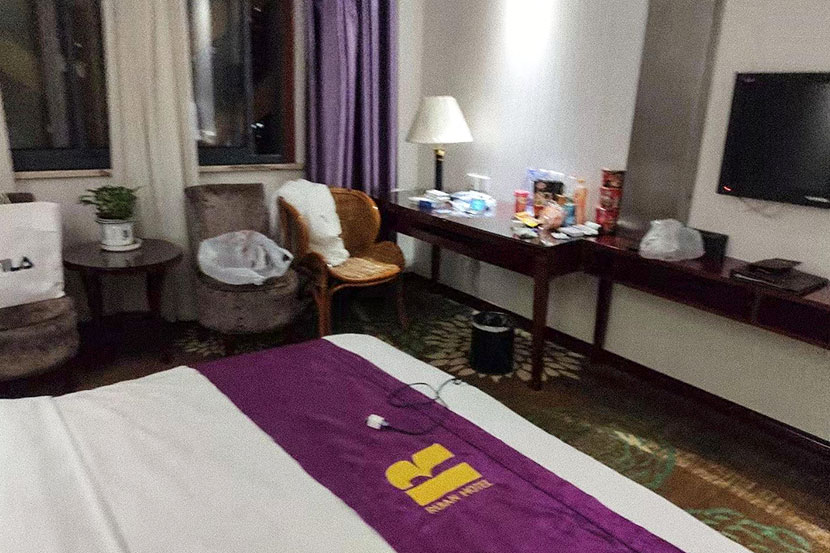 A corner of the hotel room where Zhang Chi stayed while trying to recover from his viral pneumonia and avoid spreading it to his family, Wuhan, Hubei province, January 2020. Courtesy of Zhang Chi