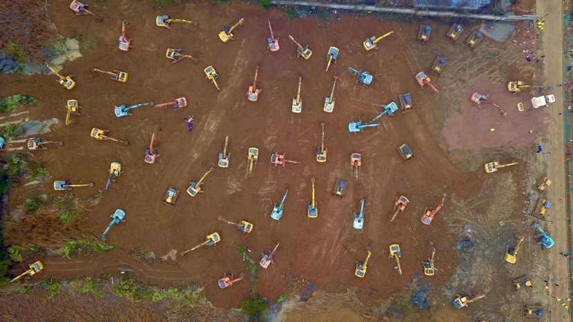 An aerial view of the construction site for a special hospital for treating novel coronavirus patients in Wuhan, Hubei province, Jan. 24, 2020. The new facility, named Huoshenshan Hospital, is completed on Feb. 2, 2020. Xinhua