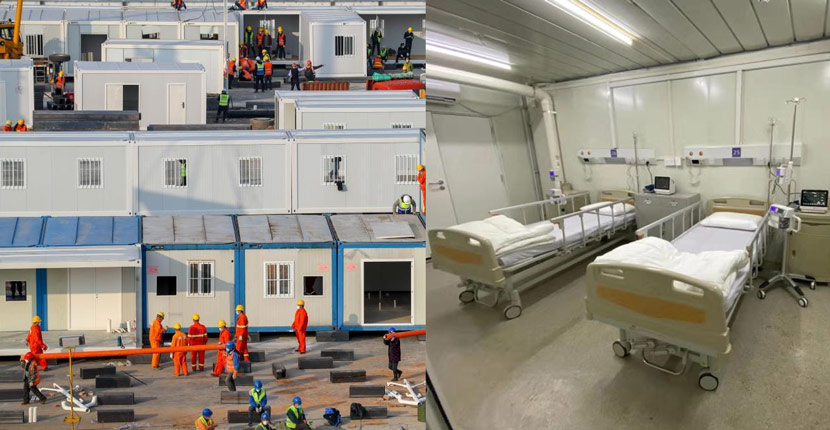 Left: The construction site of Huoshenshan Hospital on Jan. 30, 2020; right: An interior view of a patients' ward from the completed hospital on Feb. 2, 2020. Zhang Chang and Wang Teng/CNS
