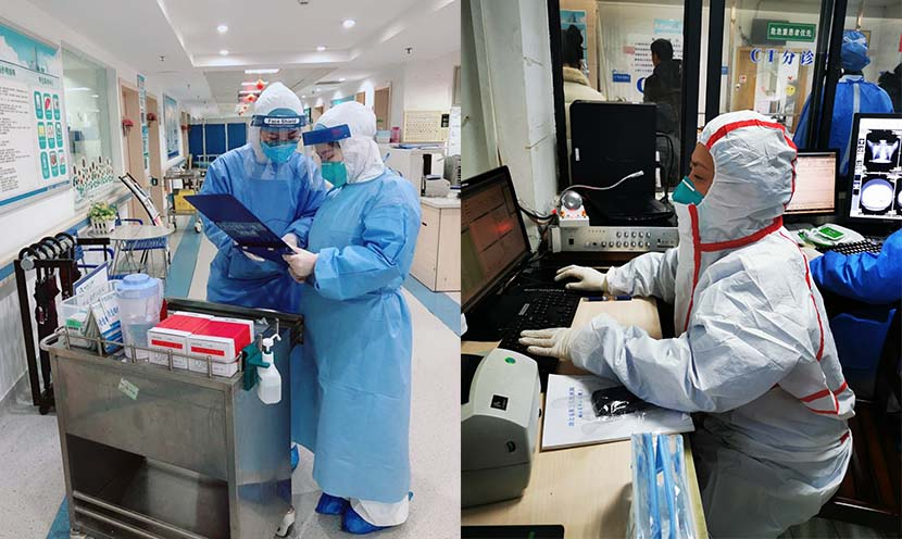 Left: Medical staff check a chest X-ray; right: One of the medical staff checks a patient's information on a computer at the Third People's Hospital of Hubei Province in Wuhan, Feb. 1, 2020.  Courtesy of the Third People's Hospital of Hubei Province