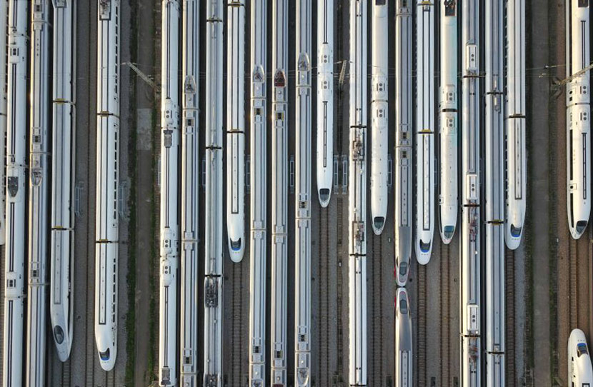 An aerial view of high-speed trains in a railway station in Guangzhou, Guangdong province, Jan. 15, 2020. Li Jie/CNS
