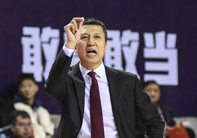 Guo Zhiqiang, the coach of the men's basketball team in Liaoning province, reacts during a Chinese Basketball Association match in Nanjing, Jiangsu province, Jan. 16, 2020. Li Bo/Xinhua