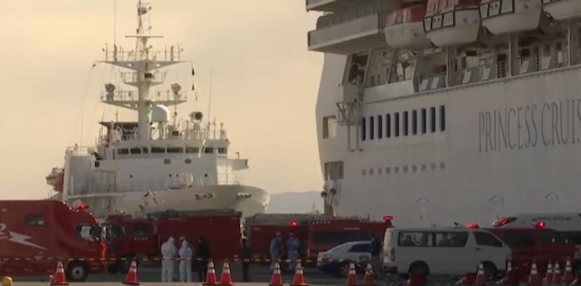 A screenshot shows the quarantined cruise liner Diamond Princess docked in Yokohama, Japan. The Paper