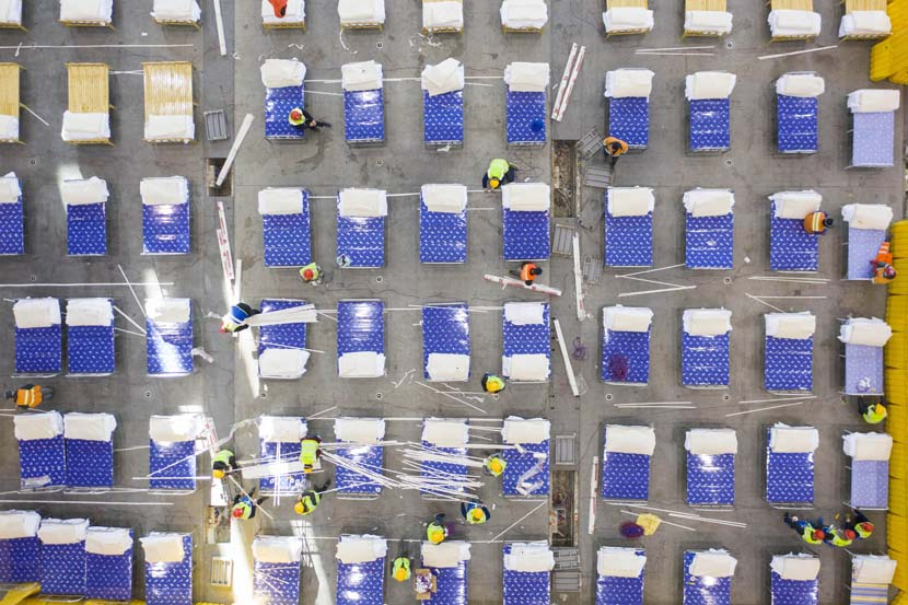 "An aerial view of the temporary ""shelter hospital"" at the Wuhan Livingroom cultural complex in Wuhan, Hubei province, Feb. 4, 2020. Xinhua"