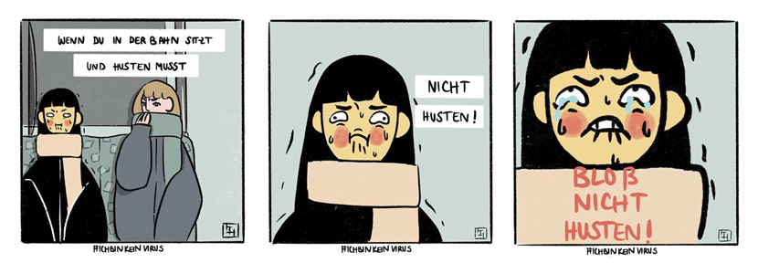 A comic shows a girl's experience when she needed to cough on a train in Germany. From @azn_german on Twitter