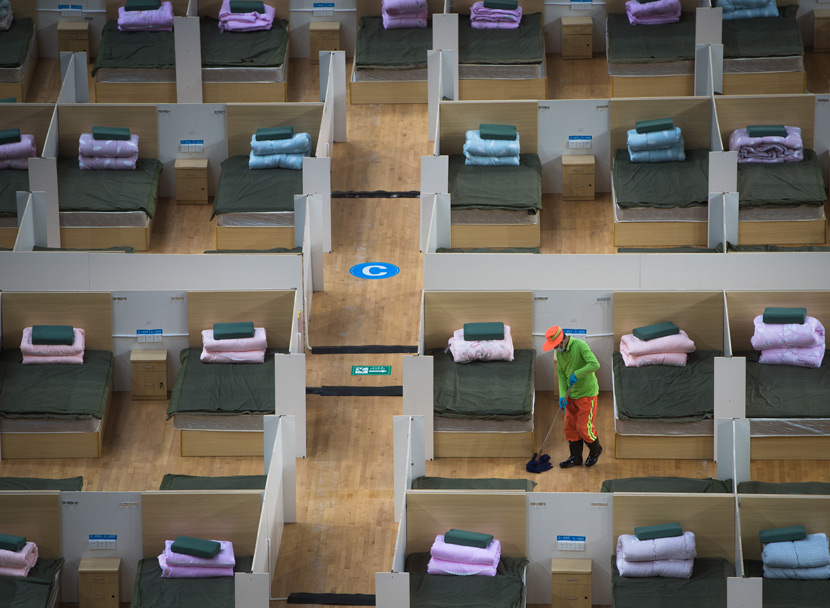 "A view of a temporary ""shelter hospital"" in Wuhan, Hubei province, Feb. 12, 2020. Xiao Yijiu/Xinhua"