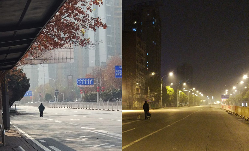 A day and night view of Wuhan after the lockdown, Hubei province, February 2020. From the author's Weibo account @计六一六