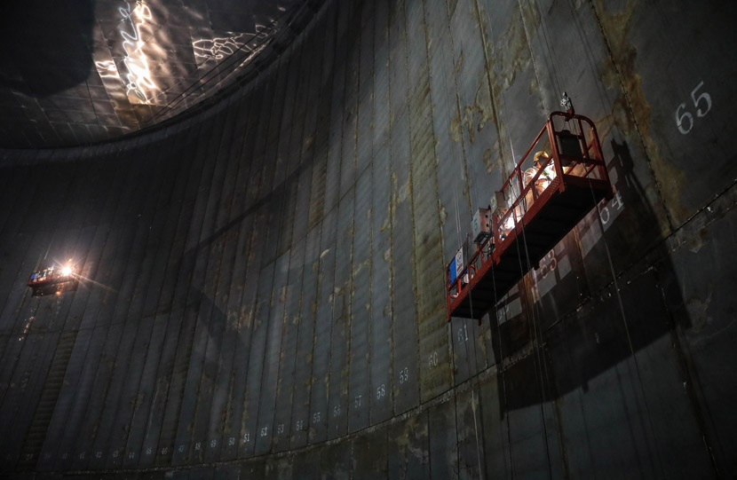 An interior view of an under-construction natural gas storage tank in Zhoushan, Zhejiang province, Feb. 28, 2020. Chen Yongjian/IC