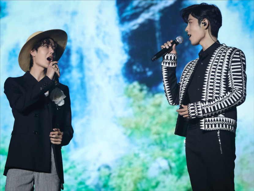 "Xiao Zhan (right) and his co-star from ""The Untamed,"" Wang Yibo, during a musical performance in Nanjing, Jiangsu province, Nov. 2, 2019. IC"