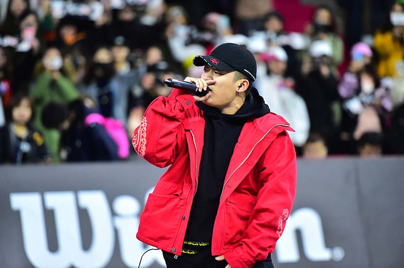 Rapper PG One performs in Beijing, Oct. 29, 2017. VCG