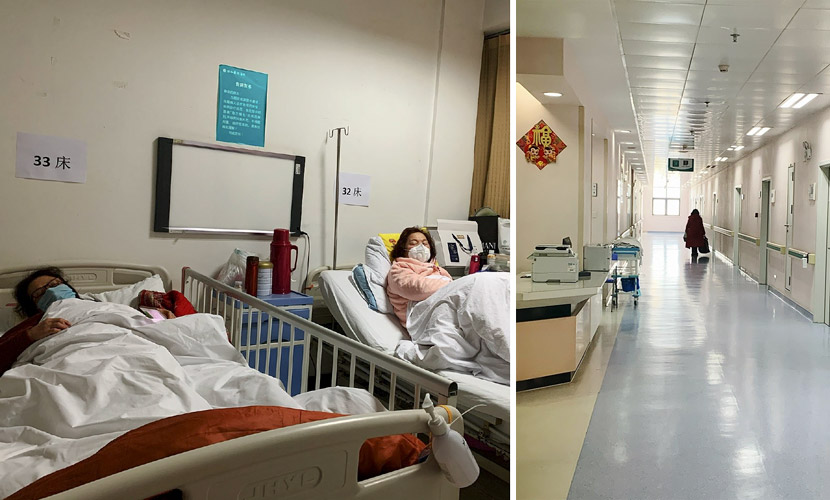 Left: Lin Qing (left) lies in bed at a hospital in Wuhan, Hubei province, Jan. 30, 2020; right: A photo taken by Lin's daughter shows Lin walking down the corridor of a hospital in Wuhan, Hubei province, Feb. 4, 2020. Courtesy of Lin Qing