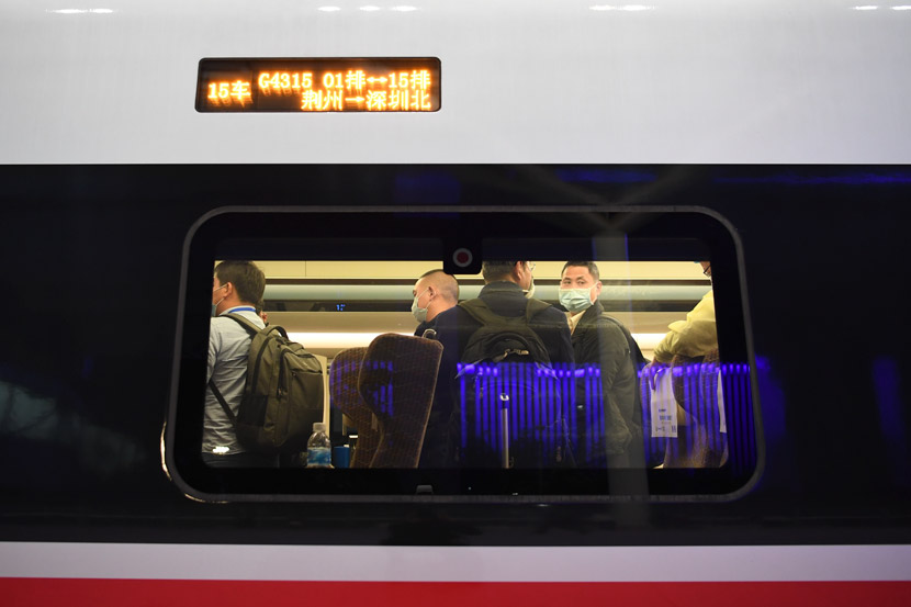 A special train transporting workers returning to work from the city of Jingzhou in Hubei province arrives in Shenzhen, Guangdong province, March 19, 2020. Liang Xu/Xinhua