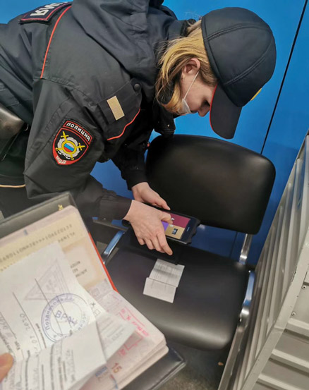 A policewoman records Lin Chuan's personal information at a metro station in Moscow, Russia, February 2020. Courtesy of Lin Chuan