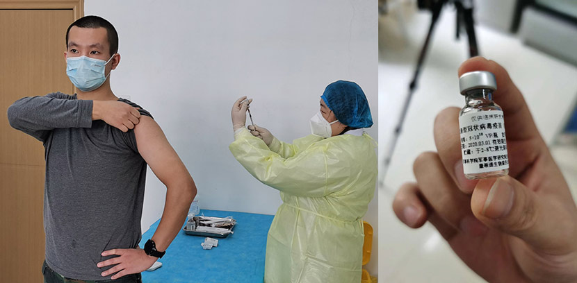 Volunteer subject Zhu Aobing prepares to be injected with an experimental coronavirus vaccine in Wuhan, Hubei province, March 19, 2020. The Paper