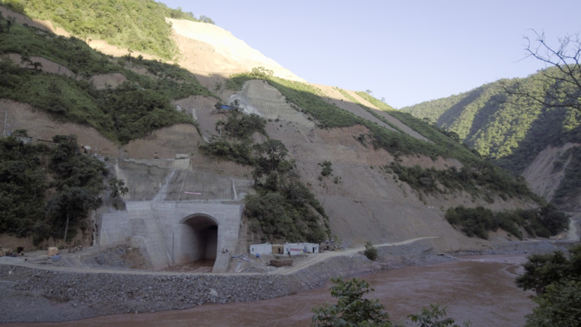 The construction site of the Jiasa River hydropower station near Jiasa Town, Yunnan province, Aug. 21, 2017. Courtesy of Friends of Nature