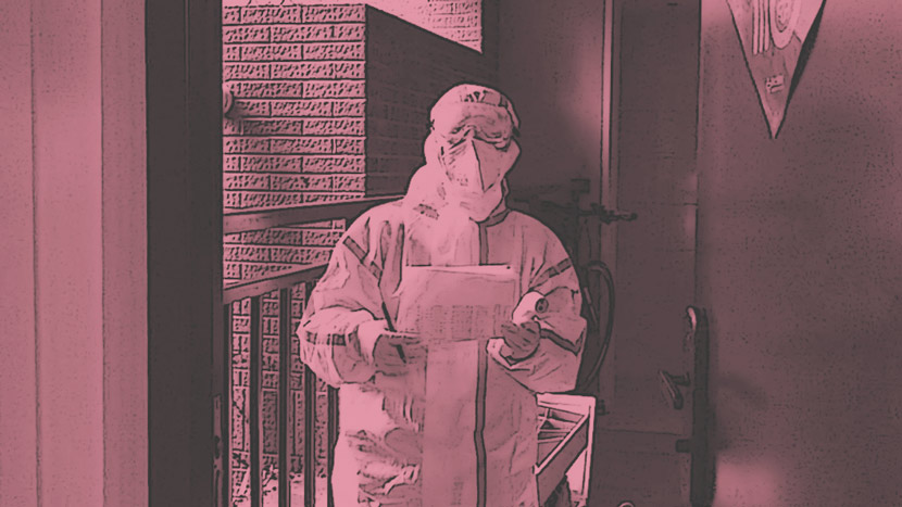 A doctor comes to the author's door in Shanghai to take her family's temperatures, March 2020. Courtesy of Shi Yi