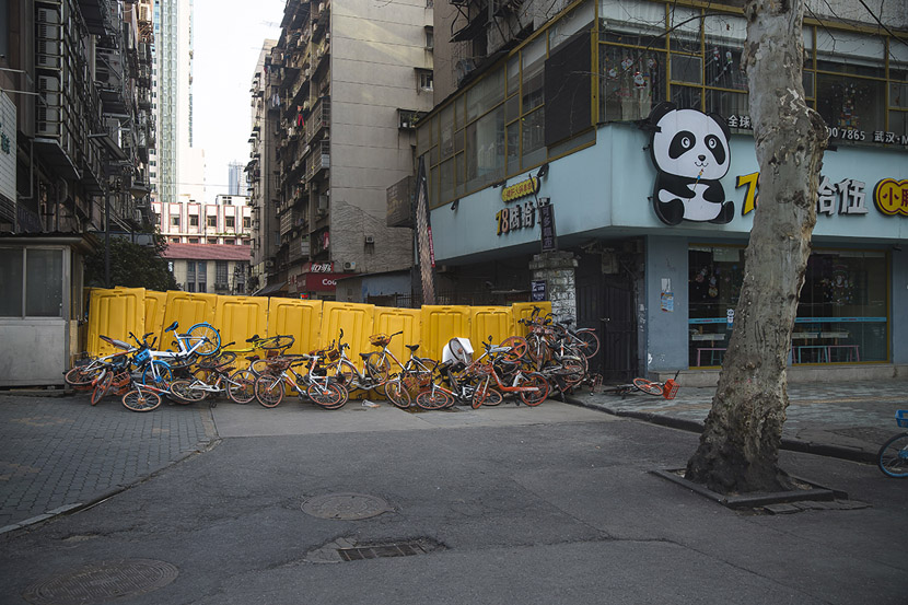 Bikes were sometimes used to reinforce the walls in Wuhan, Hubei province, Feb. 23, 2020. Gerry Yin/Wild Photos