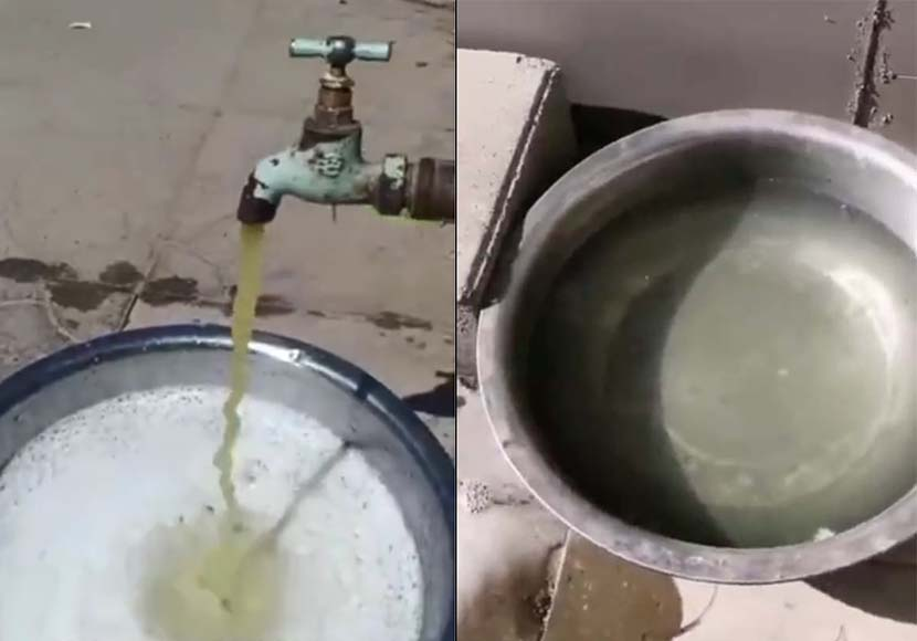 Screenshots show contaminated water coming from a spigot. From @云南政法 on Weibo