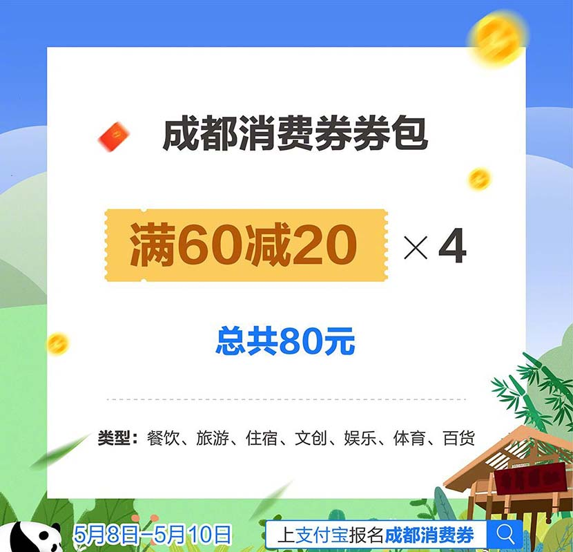An image of consumption coupons issued by the southwestern city of Chengdu. From @封面新闻 on Weibo