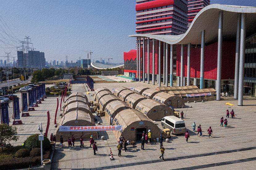 An exterior view of Keting Fangcang in Wuhan, Hubei province, Feb. 9, 2020. Courtesy of Wang Wei