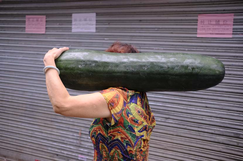 A woman carries a wax gourd on her way home in Datang Village, Guangzhou, Guangdong province, May 1, 2020. Wu Huiyuan/Sixth Tone
