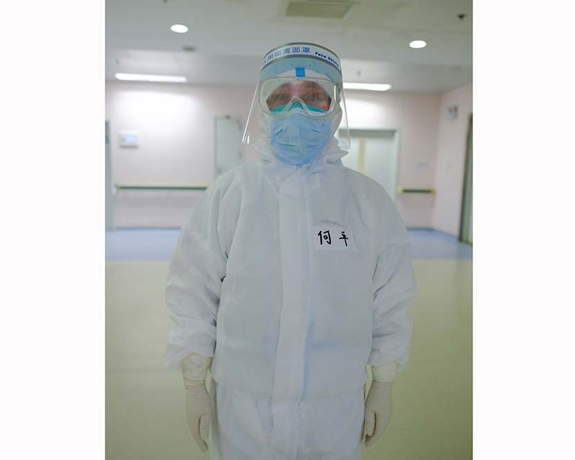 Dr. He Ping poses for a photo at Wuhan Union Hospital (West Branch) in Wuhan, Hubei province, April 11, 2020. Shi Yangkun/Sixth Tone