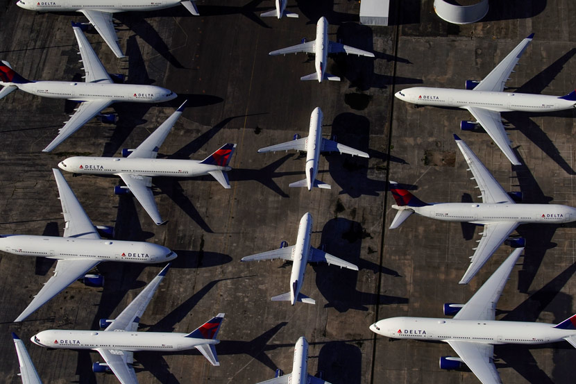Large numbers of airplanes are parked due to flight reductions made to slow the spread of the coronavirus, at Birmingham-Shuttlesworth International Airport in Birmingham, Alabama, U.S. March 25, 2020.  Elijah Nouvelage/Reuters via Xinhua