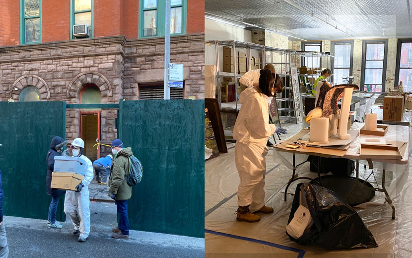 Left: Workers transfer items out of MOCA, Jan. 29, 2020. ; Right: Workers recover artifacts after the MOCA fire, February 2020. From @mocanyc on Twitter