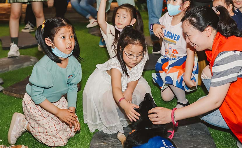 Children play with dogs during an animal-assisted therapy event at the Bund Finance Center in Shanghai, May 17, 2020. Courtesy of the Bund Finance Center