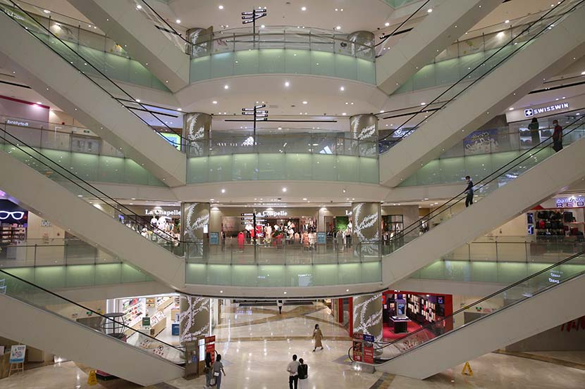 A view of a shopping mall in Zhongshan, Guangdong province, April 14, 2020. People Visual