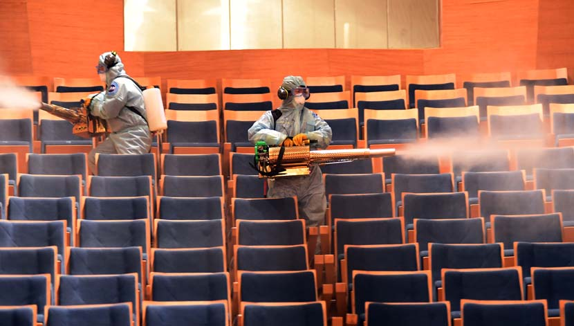 Medical staff sterilize the Shengjing Grand Theater in Shenyang, Liaoning province, May 31, 2020. Mu Zi/People Visual