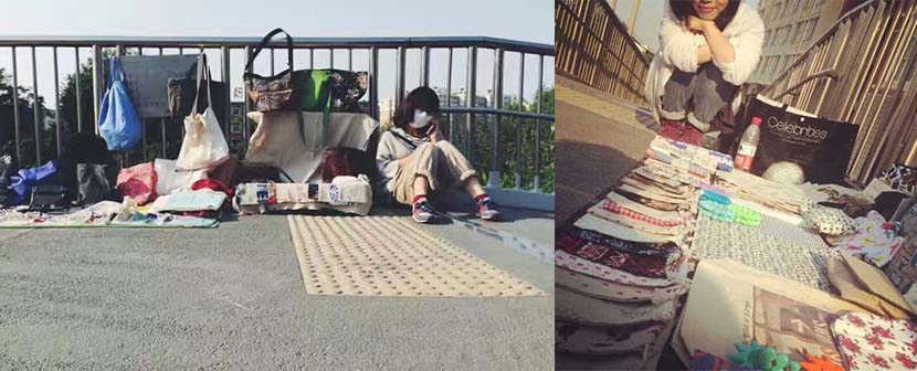 Photos show Li setting out her wares on a pedestrian bridge in Chaoyang District, Beijing, October 2015. Courtesy of Li