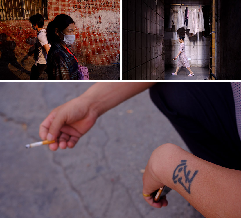 """Top left: Residents finish their work and head home in Datang Village, April 27; Top right: A resident walks home in Datang Village, May 1; Bottom: A man with a tattoo of the word """"endurance"""" takes a cigarette break, April 27. In Guangzhou, Guangdong province. Wu Huiyaun/Sixth Tone"""