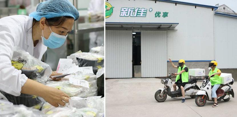 Hubei Xinjia staff members check and deliver food in Jingzhou, Hubei province, 2020. Courtesy of Hubei Xinjia
