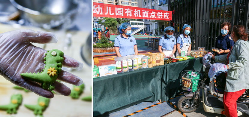 A kindergarten staff member sells handmade desserts and snacks outside campus in Zhengzhou, Henan province, June 4, 2020. People Visual