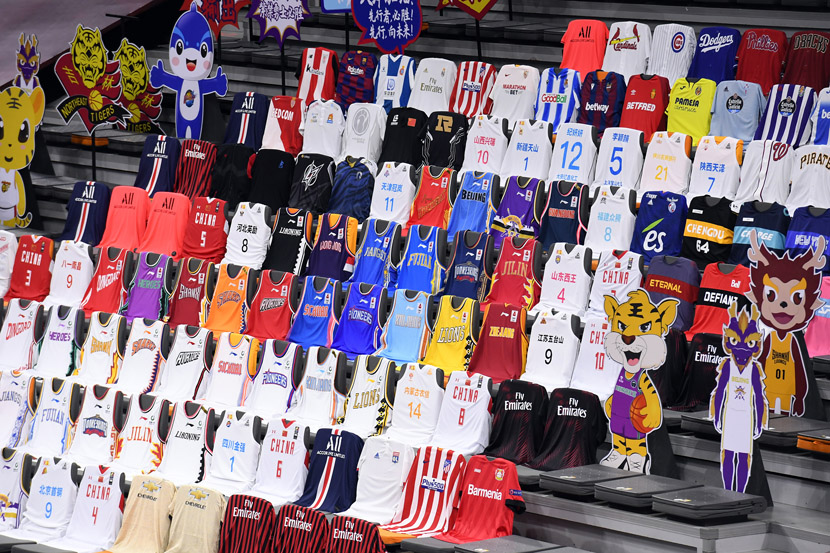 Basketball jerseys of CBA teams on display during the first match since the games were suspended after the coronavirus outbreak in Dongguan, Guangdong province, June 19, 2020. Liang Xu/Xinhua