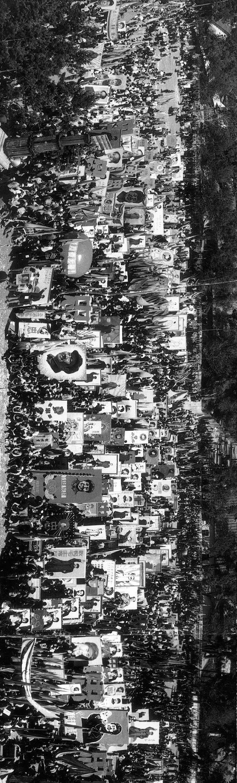 A view of people holding Chairman Mao's portraits in Harbin, Heilongjiang province, June 21, 1968. Li Zhensheng/The Chinese University of Hong Kong Press