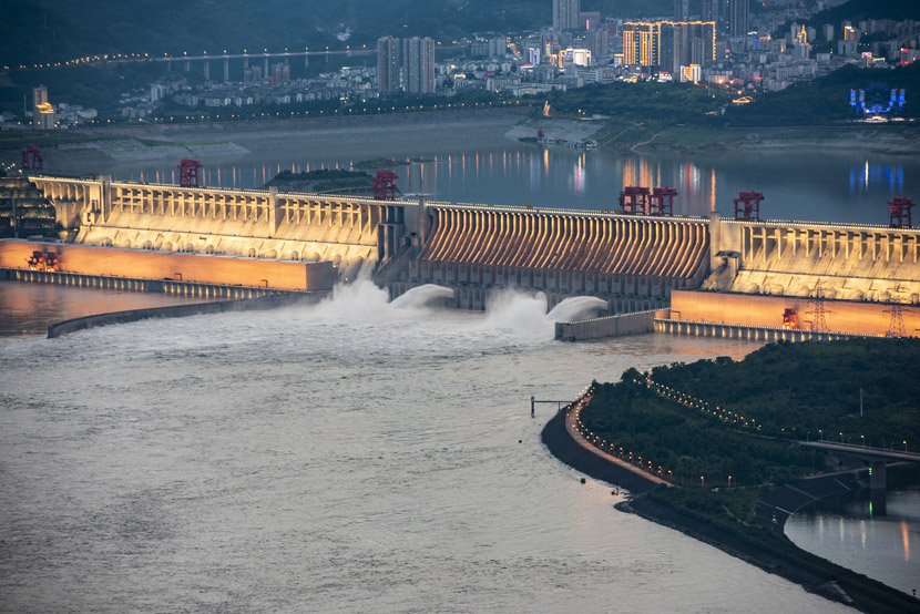 The Three Gorges Dam discharges floodwaters for the first time this year in Yichang, Hubei province, June 29, 2020. Zheng Jiayu via Xinhua