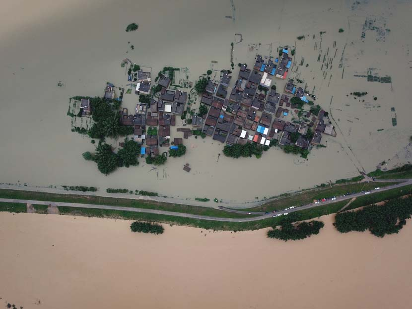 An aerial view of the flooded Longshan Town, Qingyuan, Guangdong province, June 9, 2020. People Visual