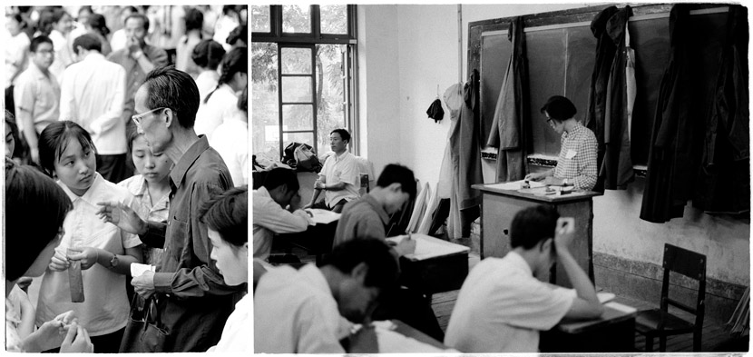 Left: proctors outside the exam hall; right: proctors inside during the test, Beijing, 1980. Ren Shulin for Sixth Tone
