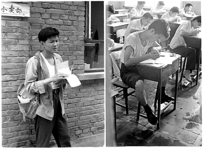 Left: A student reviews his notes; right: students in the exam hall, Beijing, 1979. Ren Shulin for Sixth Tone