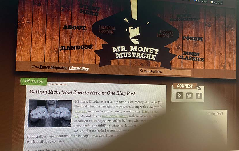 A photo shows the blog of Mr. Money Mustache. Sixth Tone